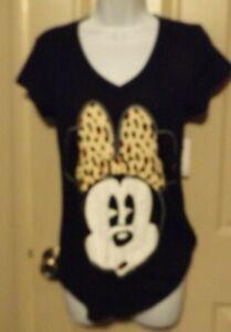 M 7/9 Juniors NWTs Disney Minnie Mouse Women's Pajama Top T-Shirt Black