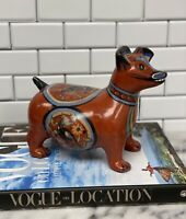 Vintage Mexican Tonala Folk Art Pottery Dog - Signed Chon Chon - Hand Painted