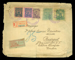 COLOMBIA 1903 Multifranked Registered cover to Budapest w/ high values 10p, 5p++