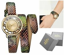NEW IN BOX VIVIENNE WESTWOOD MULTICOLOURED LEATHER SNAKESKIN TATE WRAP WATCH
