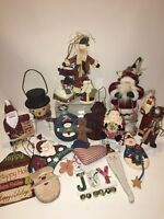 Lot Of 19 Christmas Tree Ornaments - Santa Claus- Snowman-