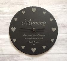 Personalised Slate Clock Mum Mummy Nanny Nanna Grannie Mother's Day Gift