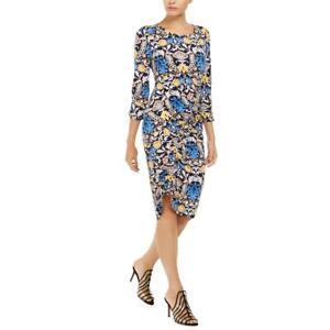 INC Womens Floral Print Asymmetric Smocked Midi Dress BHFO 9901