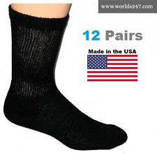 MEN'S BEST QUALITY 3 PAIR BLACK DIABETIC CREW SOCKS SIZE 13-15 (MADE IN USA)