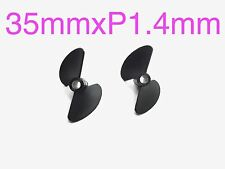 "1 Pairs D35xP1.4 2-Blade RC Boat Left&Right Propeller for 3/16""Shaft 038-00311"