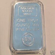 1oz GOLDEN STATE MINT SILVER BAR .999 FINE SILVER BAR - New Sealed  #3107