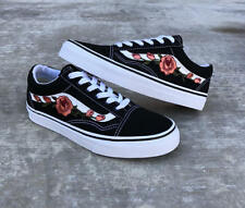 Old Skool Black Peach Rose Embroidery VANS Style Custom Trainers Embroidered