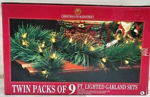 NOS 18ft total Evergreen Garland Pre-Lit Mini Clear Lights Christmas Holiday