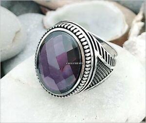 Handmade 925 Sterling Silver Violet Zircon Stone Men's Woman's Ring #sa1
