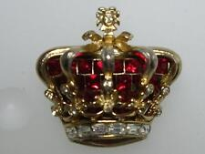 Vintage Signed Coro Craft 1951 Jubilee Red Royal Crown Pin Brooch~ Adolph Katz