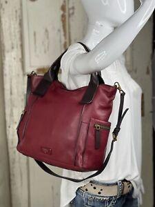 FOSSIL EMERSON Lrg CRANBERRY Leather Satchel Tote Purse Crossbody Messenger Bag