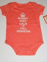 Girl Infant 0 3 Month Outfit  KEEP CALM CALL GRANDMA Peach Clothes Creeper