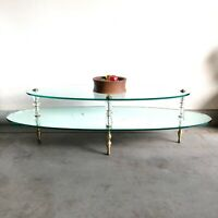 Mid Century Vintage Hollywood Regency 2 Tier Glass Top Mirrored Coffee Table