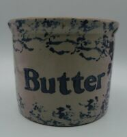 Stoneware Butter Crock Grey with Blue Sponge Design Farmhouse Colonial