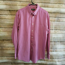 Orvis Mens Ezcool and Wrinkle Free Poplin Mini Check Red Plaid Shirt Medium EUC