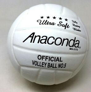 Anaconda MG-3175 Ultra Soft Full Grain Leather Official Volleyball White Black