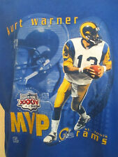 ec278d574 NFL Super Bowl XXXIV 2000 Kurt Warner MVP St Louis Rams Blue T-Shirt Size