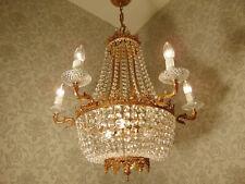 großer antik alter Lüster Korblüster Kronleuchter Bronze Gold Kristall ca 1930