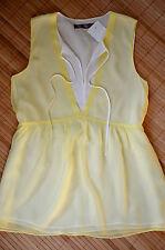 HALLHUBER DONNA schöne Tunika Top Shirt Gr. 36 / UK 8 neu 100% Seide Gelb & Weiß