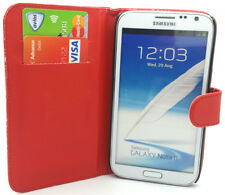 Red Plain Leather Wallet Flip Case Cover for Samsung N7100 Galaxy Note2 Note II