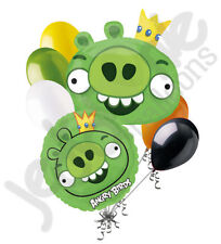 7pc Green King Pig Angry Birds Balloon Bouquet Party Decoration Video Game Movie