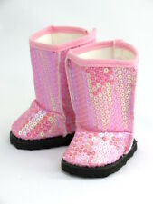 """Pink Sparkling Sequin Boots Fits 18"""" American Girl Doll Clothes Shoes"""