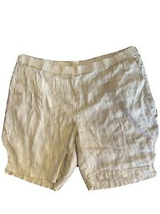J JILL Women's 3X Linen Stretch White And Black SHORTS Elastic Waist Pockets