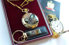 Pure 24k Gold Plate British Royal Navy Pocket Watch and Keyring Luxury Gift Set