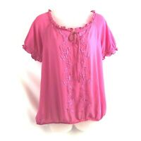 Ann Taylor Loft Women's Top Medium Pink Embroidered Front Sheer Pullover