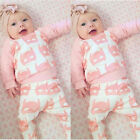 2pcs Toddler Infant Kids Baby Girl Clothes T-shirt Tops+Pants Outfits Set 0-24M