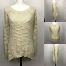 Alyx Metallic Gold Netted Pullover Knitted Sheer Scoop Neck Sweater Womens