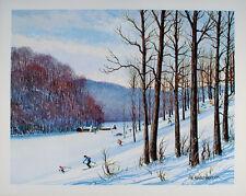 Original VINTAGE Downhill Skiing ART PRINT American Ski Resort POSTER Indiana