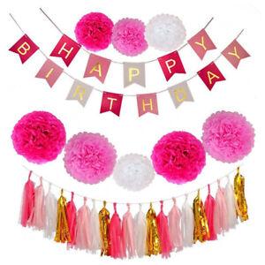 30pcs Pink Happy Birthday Bunting Pom Pom Tassel Set Hanging Decoration girl