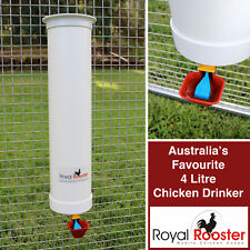 Royal Rooster 4L Chicken Poultry Waterer with Automatic Valve Operated Cup
