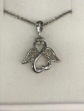 """Jane Seymour Sterling Silver 925 Diamond Open Heart Angel Pendant Necklace 18"""""""