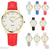 Fashion Women Ladies Casual Quartz Analog Dial Leather Band Wrist Watches Gold
