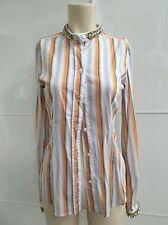 Dolce & Gabbana Shirt Orange Grey Strips and Sequins Size M