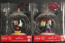 "2 Hallmark Disney 3"" Glass Ball Christmas Tree Ornament Minnie Mouse & Minkey"