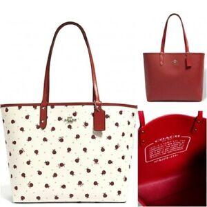 Coach Reversible City Tote Ladybug Chalk True Red Shoulder Bag Purse  $350 2991