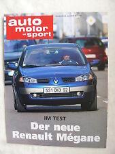 Renault Megane 1.9 DCI - Test - Sonderdruck Auto Motor & Sport Heft 22/2002