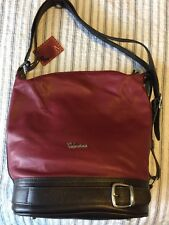 VALENTINA Maroon Leather Bucket Sling Large Shoulder Bag,Italy New With Tags