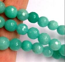 "New 8mm Faceted Brazilian Aquamarine Gem Loose Beads 15"" AAA"