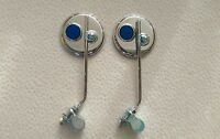 A PAIR OF BICYCLE ROUND MIRROR WITH BLUE REFLECTOR LOWRIDER BMX BEACH CRUISER