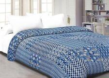 Indian cotton kantha quilt handmade patchwork twin size blue indigo bedspreads