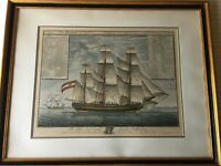 "Antique Giacomo Tagliagambe Sailing Ship Etching Print, Framed, 26"" x 20""-Image"