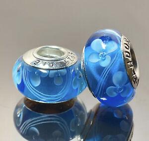 2 Pcs Genuine Pandora Sterling Silver Murano S925 ALE Beads Charm # k199~21