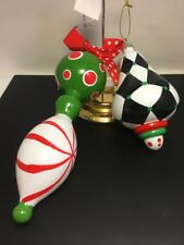 Mainstreet Collection Glass Ornaments 2 Green Red Black White Paint NWT Retired