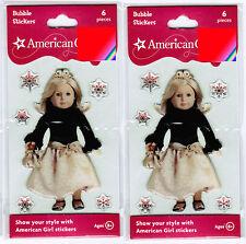 2 New Packs AMERICAN GIRL Bubble Epoxy Stickers! Formal Black Dress Doll