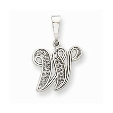 10k White or Yellow Gold Solid Charms Filigree Initial W K  C Pendant