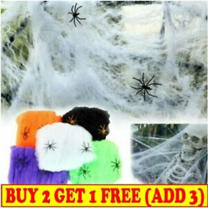 2 Spiders Cobweb Fake Spider Home Party Halloween Decoration Stretchy Spider Web